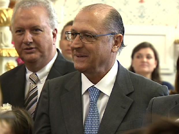 Governador Geraldo Alckmin (PSDB) participou de evento em Bom Jesus dos Perdões. (Foto: Reprodução/TV Vanguarda)
