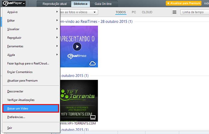 Acesse o downloader de vídeos embutido no RealPlayer (Foto: Reprodução/Paulo Alves)