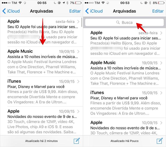 Acesse a busca do aplicativo de e-mails do iOS 9 (Foto: Reprodução/Helito Bijora)