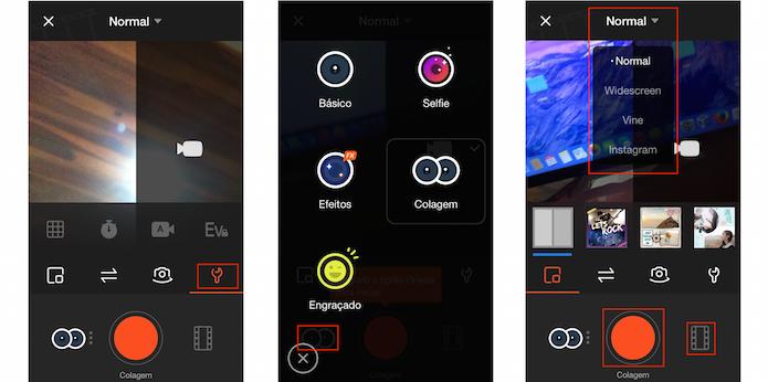 Escolhendo as opções da câmera, adesivos, tipo de vídeo, vídeos e gravando (Foto: Reprodução/Edivaldo Brito)