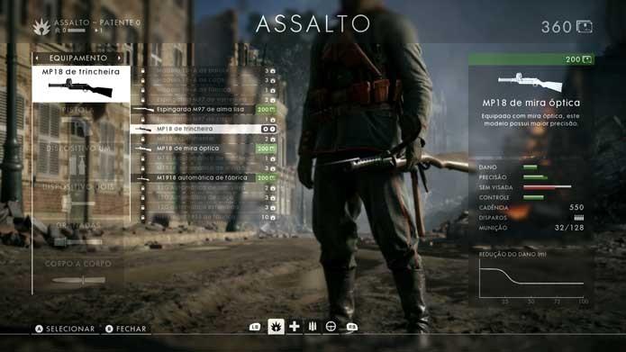 Confira as opções no menu de Battlefield 1 (Foto: Reprodução/Murilo Molina)