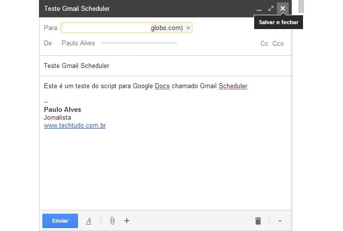 Primeiro passo é escrever o e-mail e salvar em Rascunhos  (Foto: Reprodução/Paulo Alves)