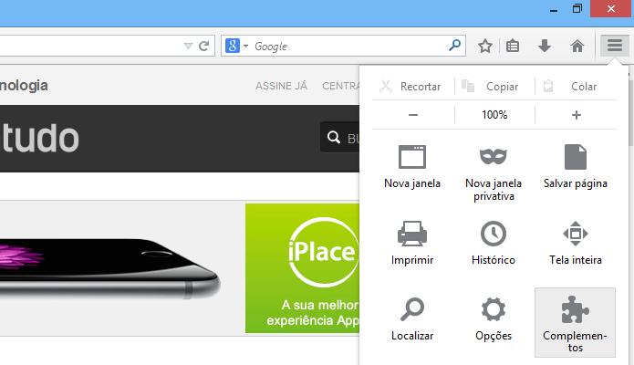 Acessando o gerenciador de extensões do Firefox (Foto: Reprodução/Helito Bijora)