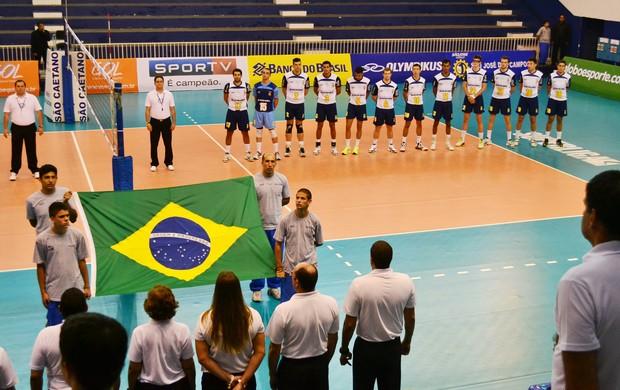 Equipe de vôlei de São José na Superliga B (Foto: Tião Martins/GIANT Propaganda)