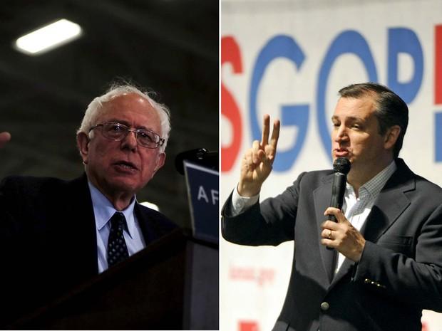 Os pré-candidatos Bernie Sanders e Ted Cruz durante eventos neste sábado (5) (Foto: REUTERS/Jim Young/ Dave Kaup)