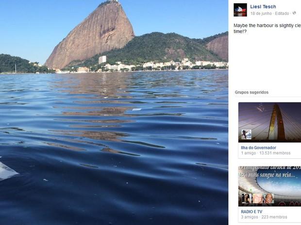 Atleta assaltada fez post no facebook com criticas à poluição da Baía de Guanabara  (Foto: Reprodução/Facebook)