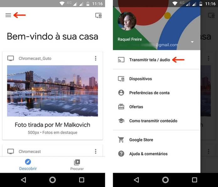 Opções do menu principal do app Google Home (Foto: Reprodução/Raquel Freire)