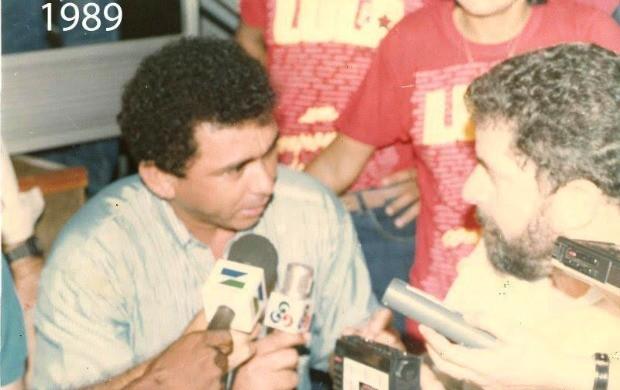 Evandro Luiz em entrevista com o ex-presidente Luiz Inácio, o Lula (Foto: Evandro Luiz/Arquivo Pessoal)