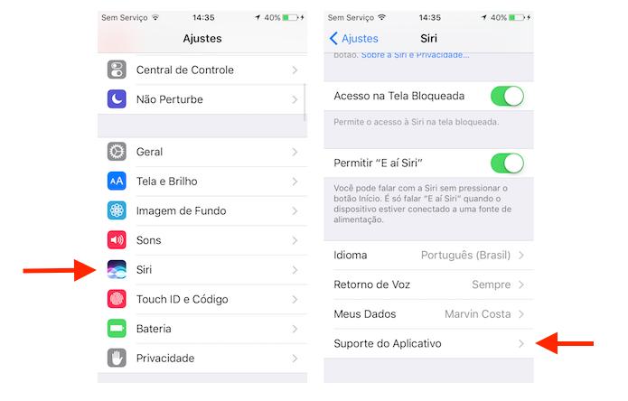 Acesso as opções de suporte da Siri no iOS 10 (Foto: Reprodução/Marvin Costa)