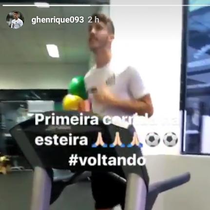 """BLOG: Em recuperação no Santos, Gustavo Henrique corre na esteira: """"Voltando"""""""