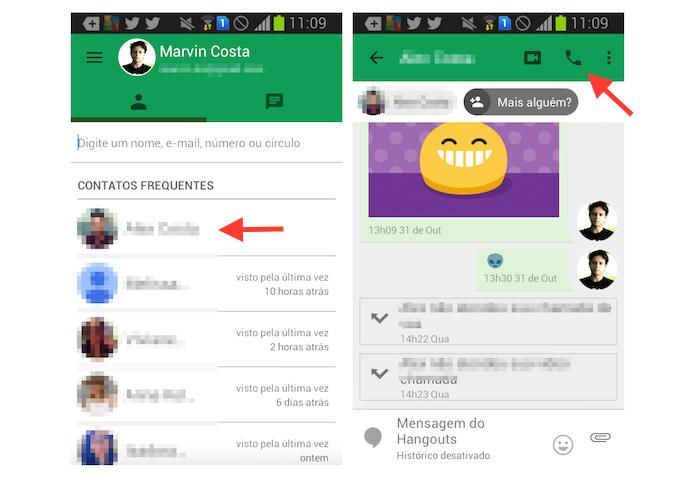 Iniciando uma chamada de voz no Google Hangouts para Android (Foto: Reprodução/Marvin Costa)