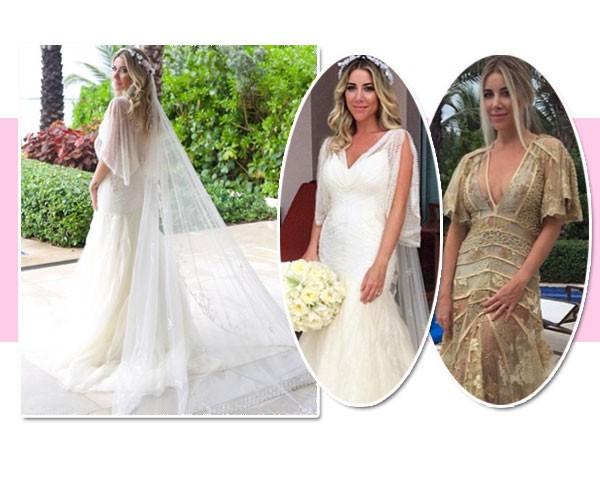 Os vestidos de Mica Rocha foram assinados por Helô Rocha (o dourado) e Emanuelle Junqueira (Foto: Reprodução/Instagram)