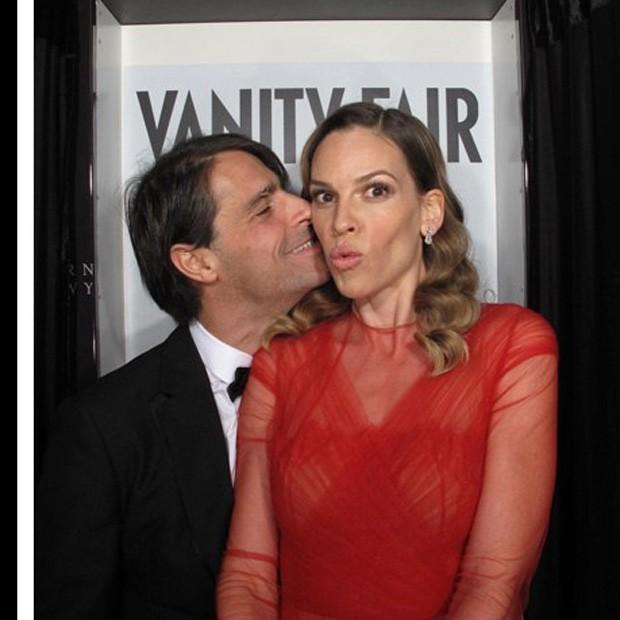 Laurent Fleury e Hilary Swank (Foto: Reprodução)