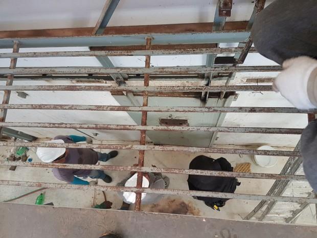 Celas do Pavilhão 5 começaram a passar por reparos nesta sexta-feira (27). (Foto: G1 RN)