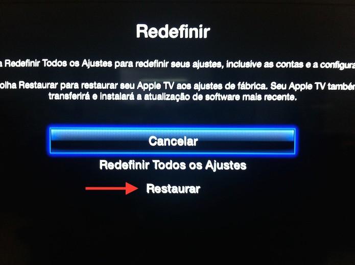 Restaurando a Apple TV para os ajustes de fábrica (Foto: Marvin Costa/TechTudo)
