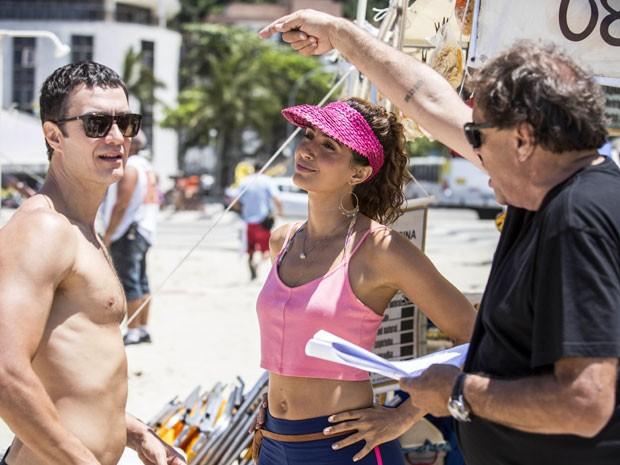 Ao lado de Camila Pitanga, Gabriel Braga Nunes grava cenas de Babilônia, com direção de Dennis Carvalho (Foto: Raphael Dias/Gshow)
