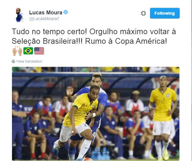"""BLOG: Chamado de última hora, Lucas celebra volta à Seleção: """"Tudo no tempo certo"""""""