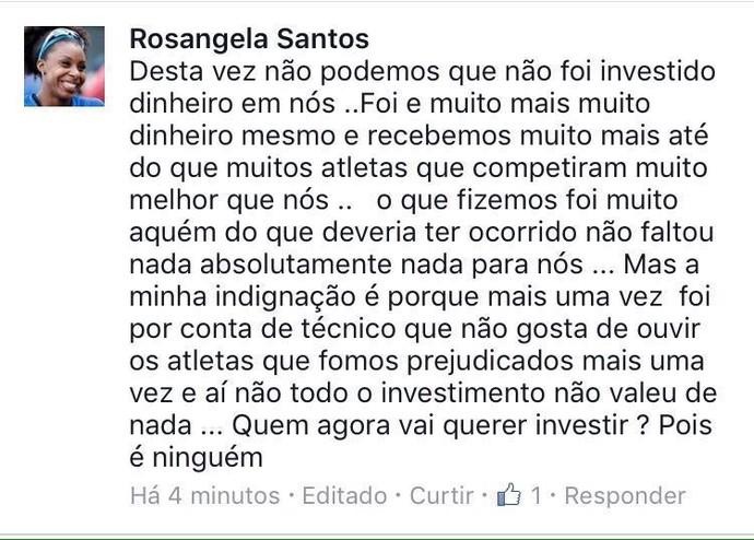 Rosângela dos Santos - crítica (Foto: Reprodução/Facebook)