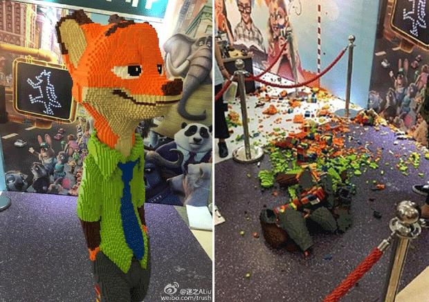 A escultura de Nick Wilde, antes e depois (Foto: Reprodução)