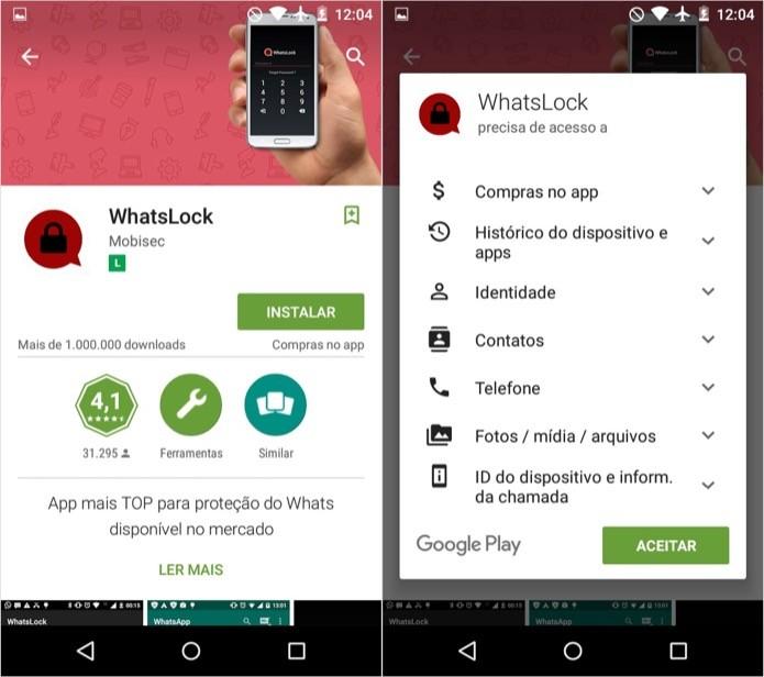 Instale o aplicativo WhatsLock em seu celular (Foto: Reprodução/Helito Bijora)