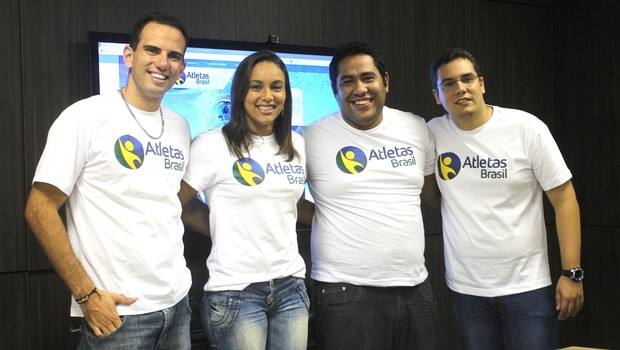 Fábio Bandeira de Mello, Simone Donata,  João Cleyton Nunes e Nicodemos Cruz, da Atletas Brasil (Foto: Divulgação)