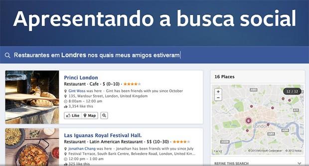 Busca social, a nova ferramenta de buscas do Facebook (Foto: Divulgação/Facebook)