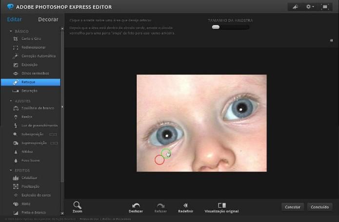 Retoque pode remover marcas de expressão ou corrigir imperfeições da pele no Photoshop Express (Foto: Reprodução/Raquel Freire)