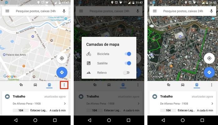 Ativação de visualização do mapa com imagens de satélite e indicações de ciclovias (Foto: Reprodução/Raquel Freire)