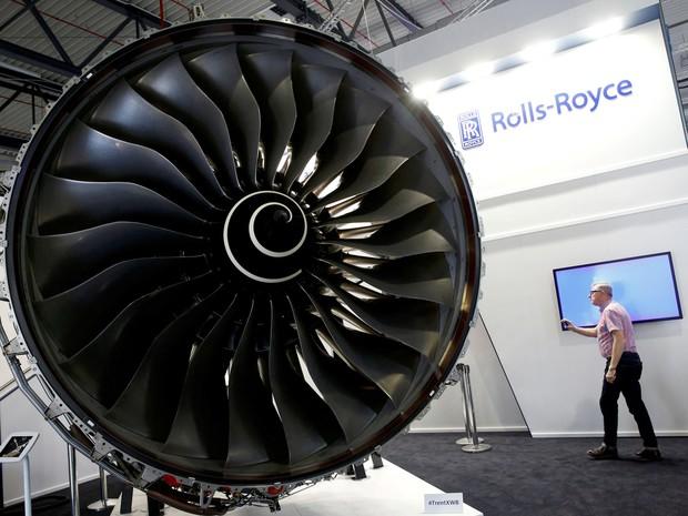 A turbina de avião Trent XWB, da Rolls-Royce, é vista durante o ILA Berlin Air Show em Schoenefeld, na Alemanha (Foto: Fabrizio Bensch/Reuters/Arquivo)