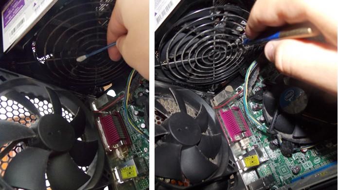 Passe um cotonete nas estruturas internas do gabinete e limpe as hélices dos coolers com um pincel (Foto: Reprodução/Daniel Ribeiro)