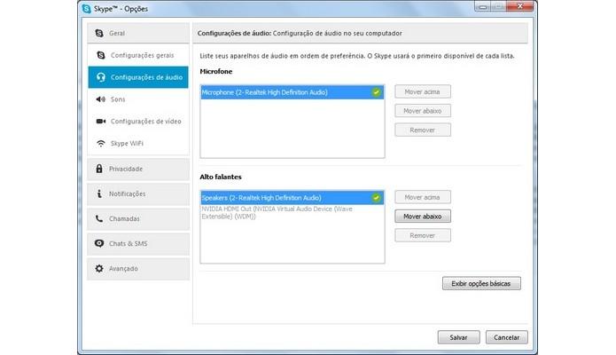 Janela de configurações de áudio avançadas do Skype (Foto: Reprodução/Raquel Freire)