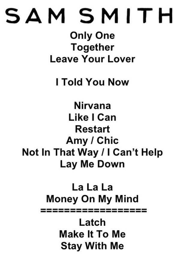 Setlist: Sam Smith no Rock In Rio 2015 (Foto: Multishow)