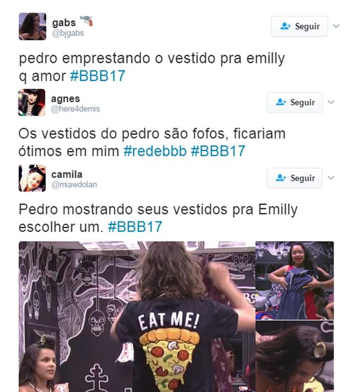 Emilly pega vestido emprestado de Pedro e internautas comentam (Foto: Reprodução/Internet)