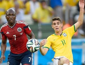 Oscar e Armero jogo Brasil x Colômbia (Foto: Jefferson Bernardes / VIPCOMM)