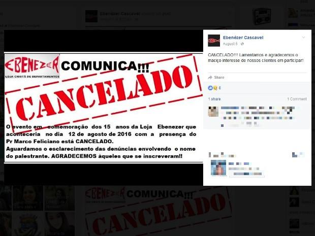 No perfil no Facebook, a loja que vinha organizando o evento com Feliciano comunicou o cancelamento e justificou a decisão (Foto: Reprodução/Facebook)