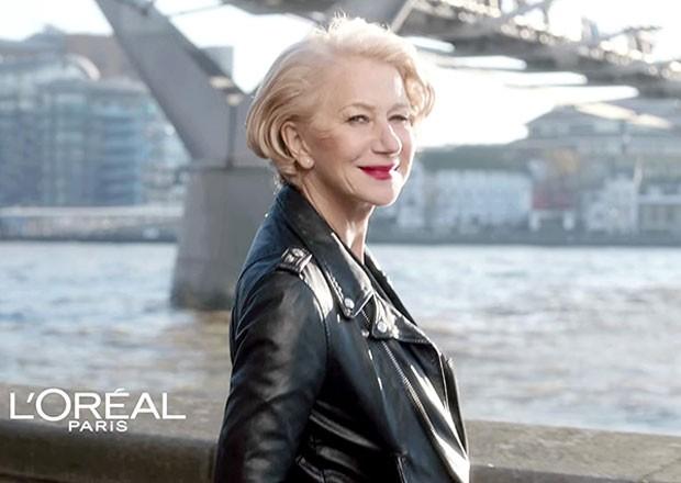 Helen Mirren na campanha na campanha da linha Age Perfect, da L'Oréal, para peles maduras (Foto: Divulgação)