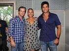Adriane Galisteu grava com Victor e Leo em rádio paulista