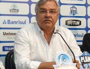 Odone chegou a se emocionar durante a coletiva no Olímpico (Foto: Caetanno Freitas/Globoesporte.com)