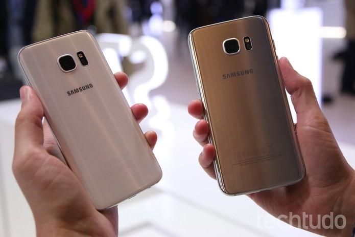 Traseiras do Galaxy S7 e S7 Edge lado a lado (Foto: Fabrício Vitorino/TechTudo)