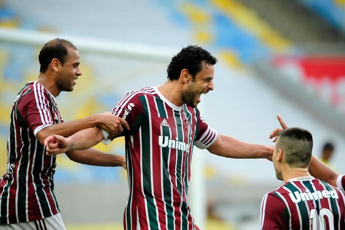 Carlinhos e Fred gol Fluminense (Foto: Dhavid Normando / FuturaPress)