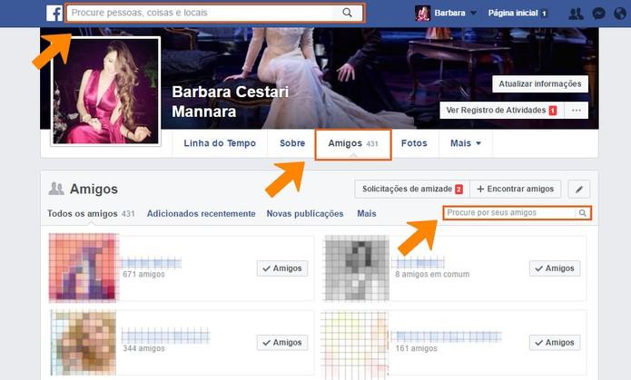 Acesse sua aba de amigos ou busque pelo nome da pessoa no Facebook (Foto: Reprodução/Barbara Mannara)