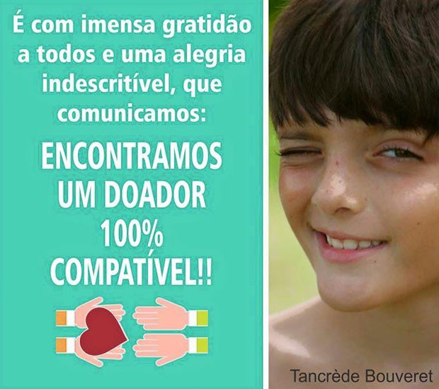 Pais postaram que encontraram doador para Tancrède (Foto: Reprodução/Facebook/Campanha Tancrède)