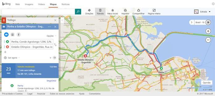 Bing Maps mostra intensidade do tráfego e acidentes em tempo real (Foto: Reprodução)
