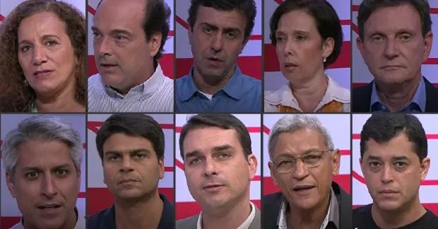 Candidatos à prefeitura do Rio participam de entrevista  (Foto: Arte G1 Rio)