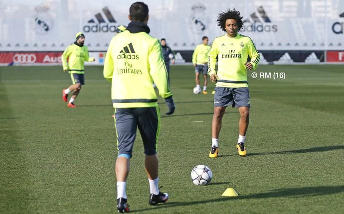 Marcelo treino Real Madrid (Foto: Reprodução / Facebook)