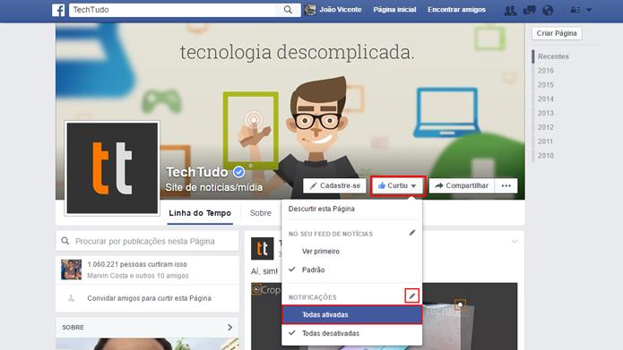 Facebook permite configurar quais notificações serão exibidas (Foto: Reprodução/Facebook)