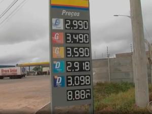 Preço do etanol também está mais barato em posto da rodovia (Foto: Reprodução/ TV Bahia)