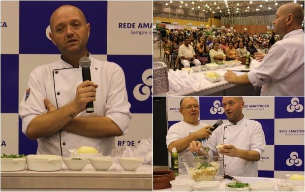 Chef João Almeida, na aula show, ensinando a receita 'Salada de bacalhau' (Foto: Gisa Almeida/Rede Amazônica)