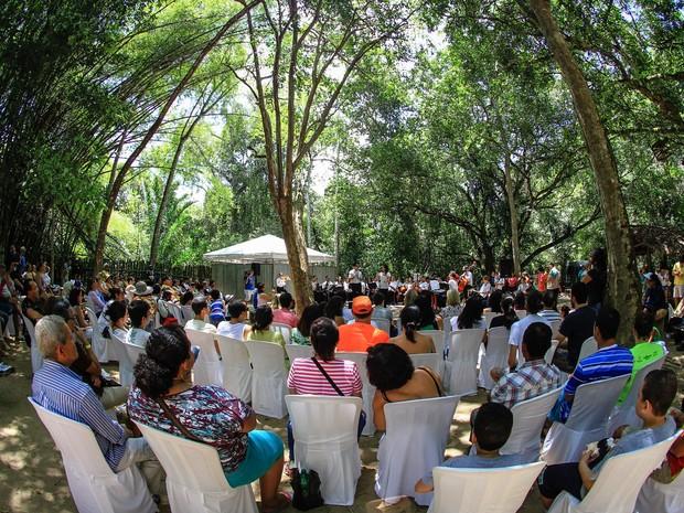 Público lota o Parque Municipal de Maceió para apresentação de camerata (Foto: Ascom / Secom-AL)