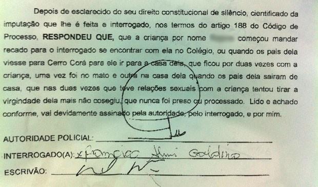 Termo de Confissão assinado pelo agricultor suspeito de estupro (Foto: Divulgação/Polícia Civil do RN)
